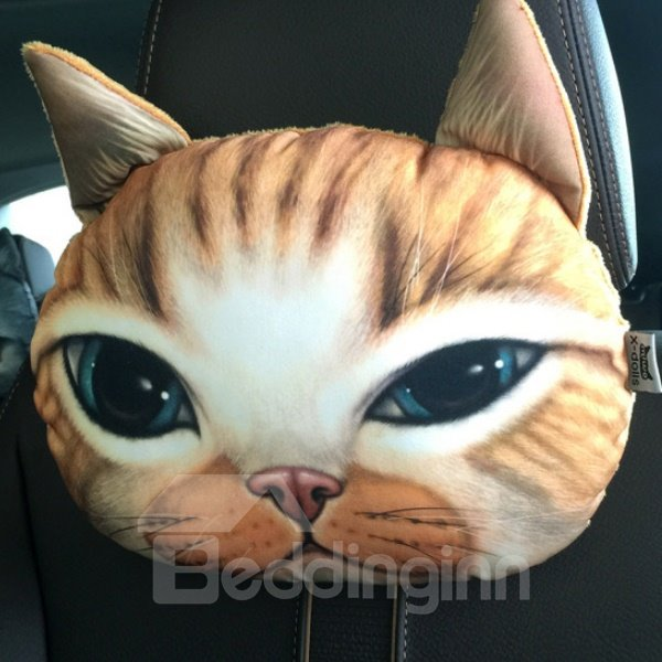 Creative Personalized Sleepy Kitten Face Car Seat Pillows