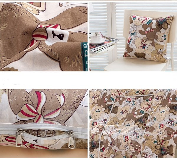 Extra Soft Convertable Quillow Cartoon Bears Patterned Blanket Car Pillow