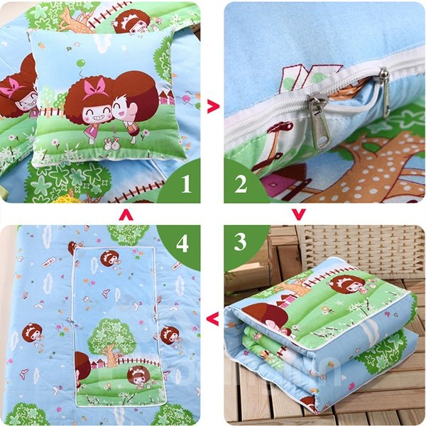 Soft Convertable Quillow Cartoon Patterned Blanket Car Pillow