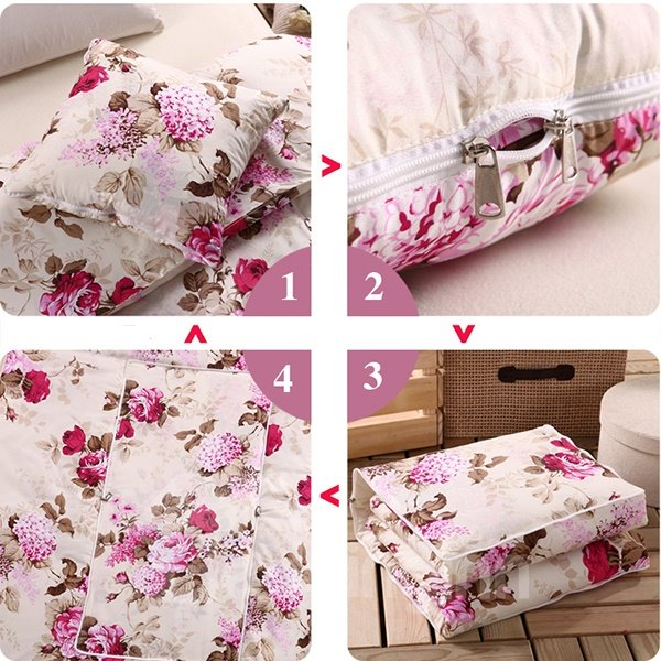 Soft Convertable Quillow Elegent Flowers Patterned Blanket Car Pillow