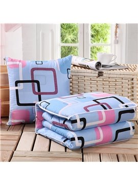 Soft Convertable Quillow Geomatric Patterned Blanket Car Pillow