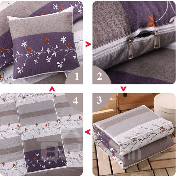 Soft Convertable Quillow Plants Patterned Blanket Car Pillows