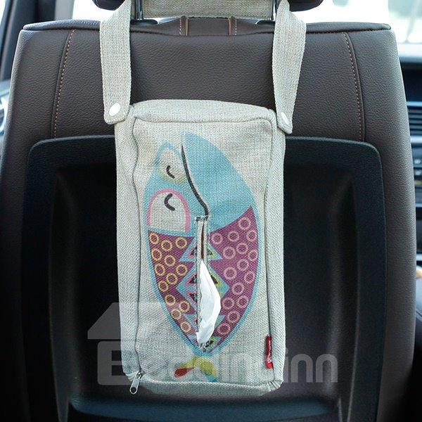 Creative Cheerful Fish Patterned Linen Tissue Box Car Backseat Organizer