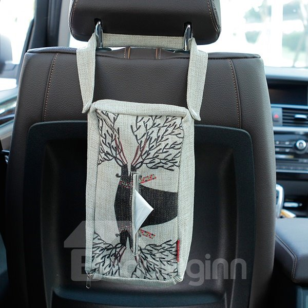 Creative Deer Patterned Linen Tissue Box Car Backseat Organizer