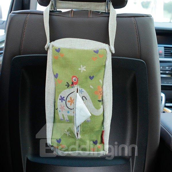 Creative Elephant Patterned Linen Tissue Box Car Backseat Organizer