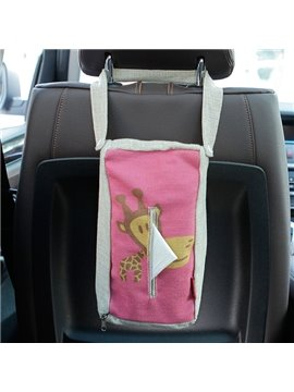 Creative Giraffe Patterned Linen Tissue Box Car Backseat Organizer