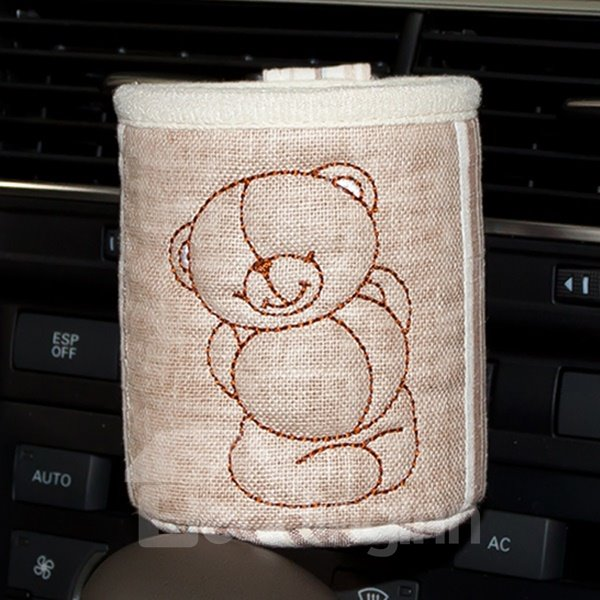 Cute Bear Patterned Linen Car Phone Holder