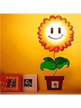 Creative Nursery Sunflower Design 3D Sticker LED Wall Light Nightlight