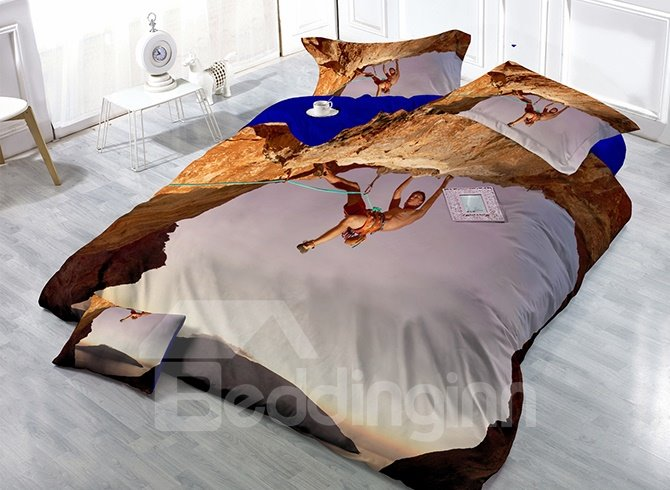 Strong Climbing Man Print Satin Drill 4-Piece Duvet Cover Sets