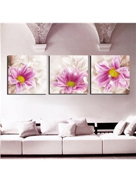 Romantic Pink Flowers 3-Panel Canvas Wall Art Prints