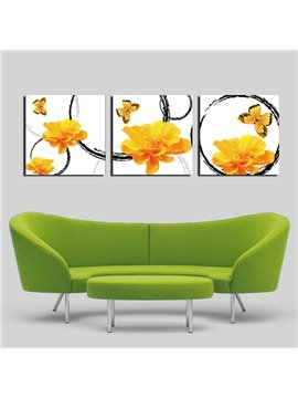 Unique Flowers and Butterfly 3-Panel Canvas Wall Art Prints