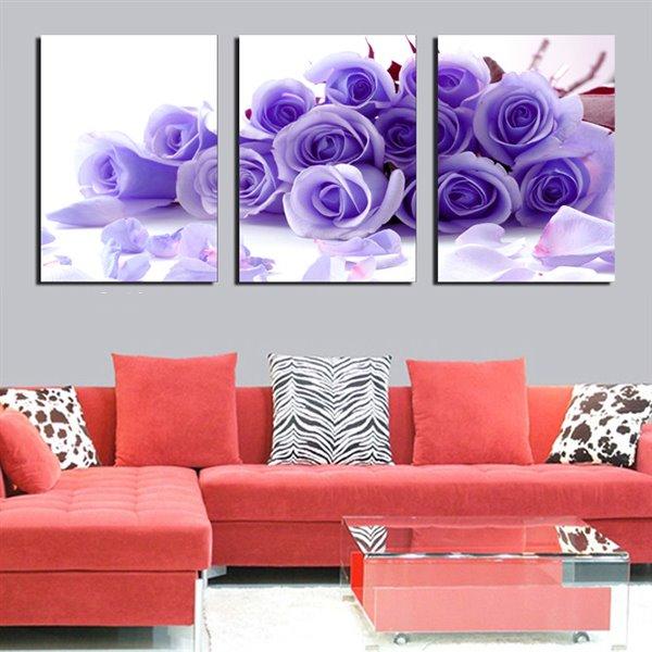 Romantic Purple Roses 3-Panel Canvas Wall Art Prints