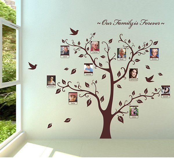 Family is Forever Tree Design Wall Photo Frame Removable Wall Sticker