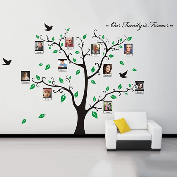 Family Is Forever Green Leaf Tree Design Wall Photo Frame
