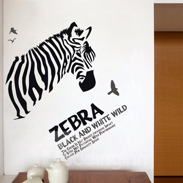 Unique Zebra and Letters Bedroom Living Room Removable Wall Sticker