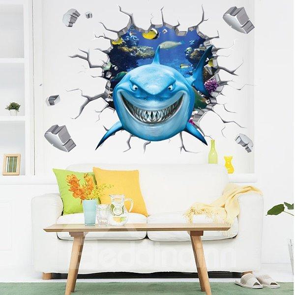 Cartoon Shark Through a Hole Nursery Removable 3D Wall Sticker