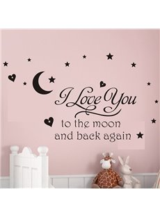 Romantic Words and Quotes I Love You to the Moon Removable Wall Sticker