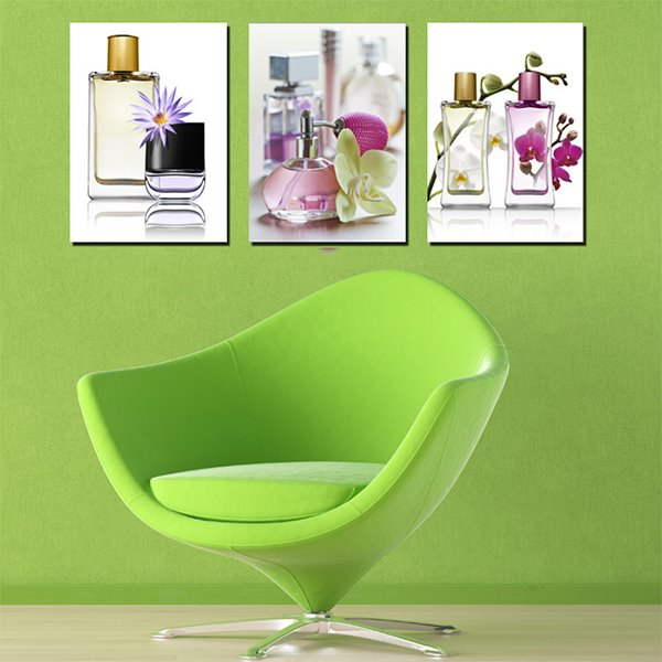 Creative Purfume Bottles and Flowers Canvas 3-Panel Wall Art Prints