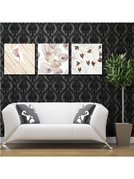 Abstract Flower and Leaves Canvas 3-Panel Wall Art Prints