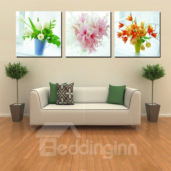 Beautiful Flower Bouquets Canvas 3-Panel Wall Art Prints
