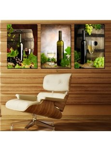 Wonderful Wine Bottle and Glasses and Grapes Canvas 3-Panel Wall Art Prints