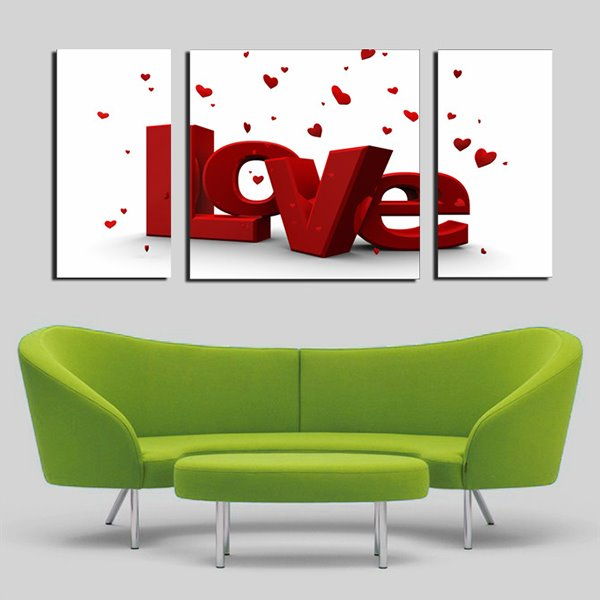 Romantic Love in Red Capital Letters Canvas 3-Panel Wall Art Prints