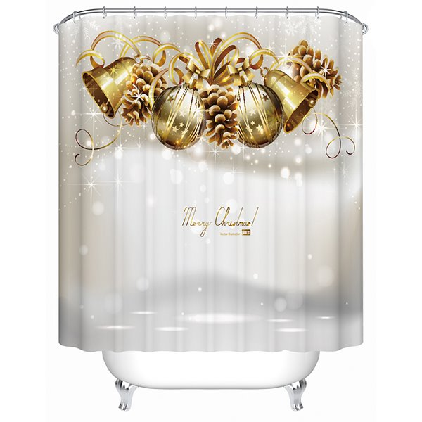 Fancy Adorable Merry Christmas Tinkle Bells Printing 3D Shower Curtain