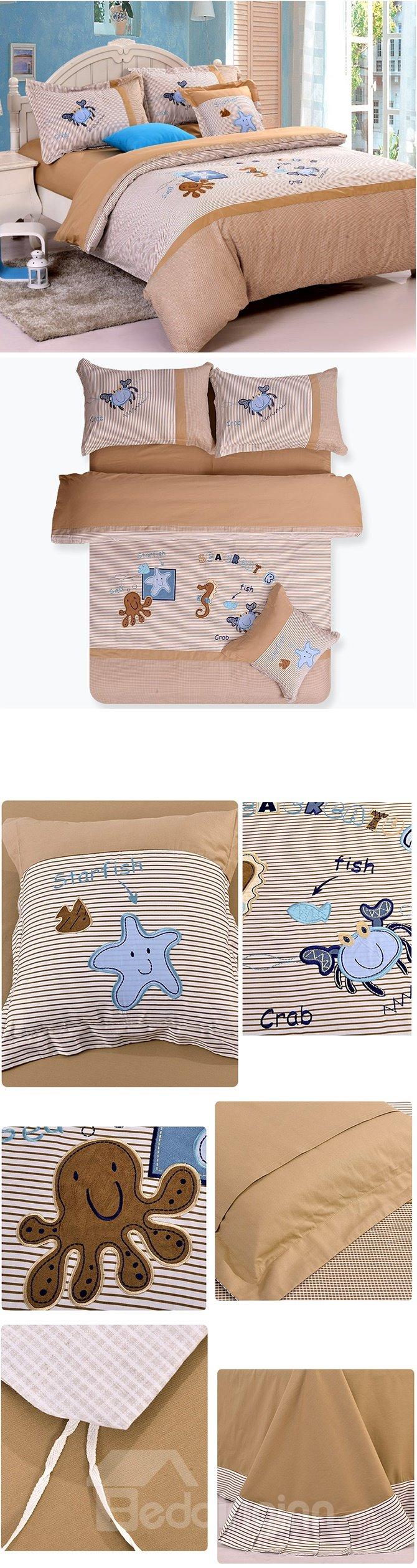 100% Cotton Lovely Bottom of The Ocean Print Kids Duvet Cover Set