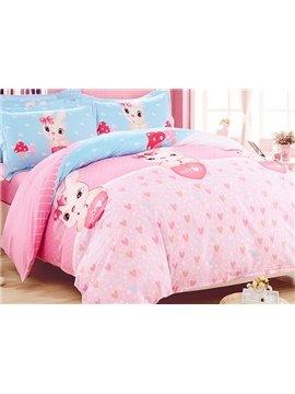 Pink Heart Shape Pattern Rabbits Print Kids Duvet Cover Set