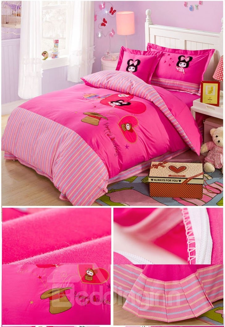 Pink Stripes Pattern Girl with Bowknot Print Kids Duvet Cover Set