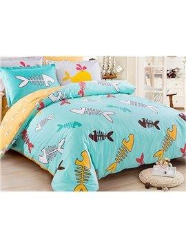 100% Cotton Lovely Fishbone Pattern Kids Duvet Cover Set