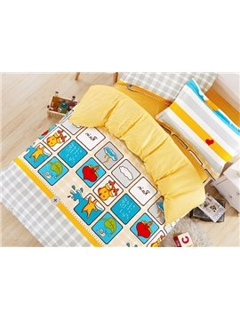 Plaid Pattern Giraffe Print Kids Duvet Cover Set
