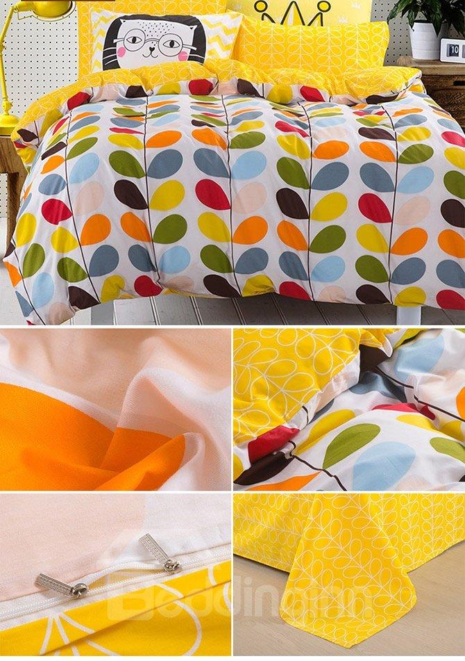 100% Cotton Colorful Leaves Pattern Kids Duvet Cover Set