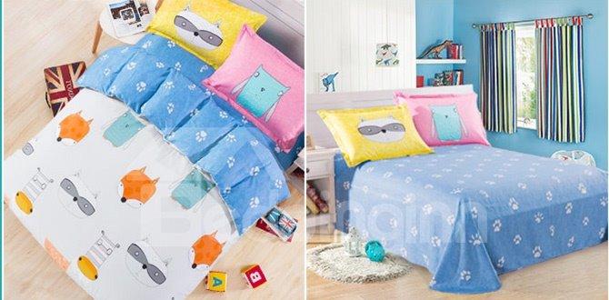 Lovely Fox and Paws Pattern Kids Duvet Cover Set
