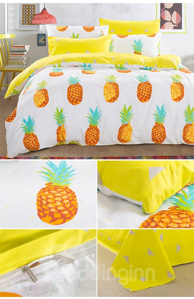 100 Cotton Lovely Pineapple Pattern Kids Duvet Cover Set