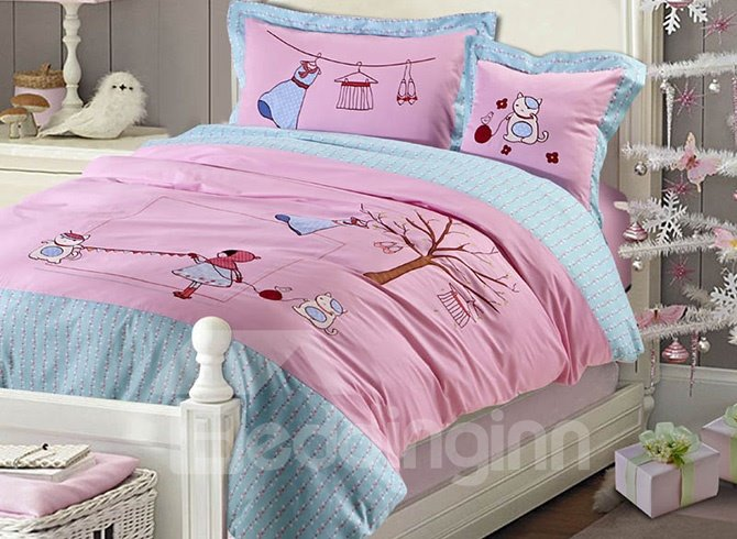 100% Cotton Pink Lovely Girl and Cat Print Kids Duvet Cover Set