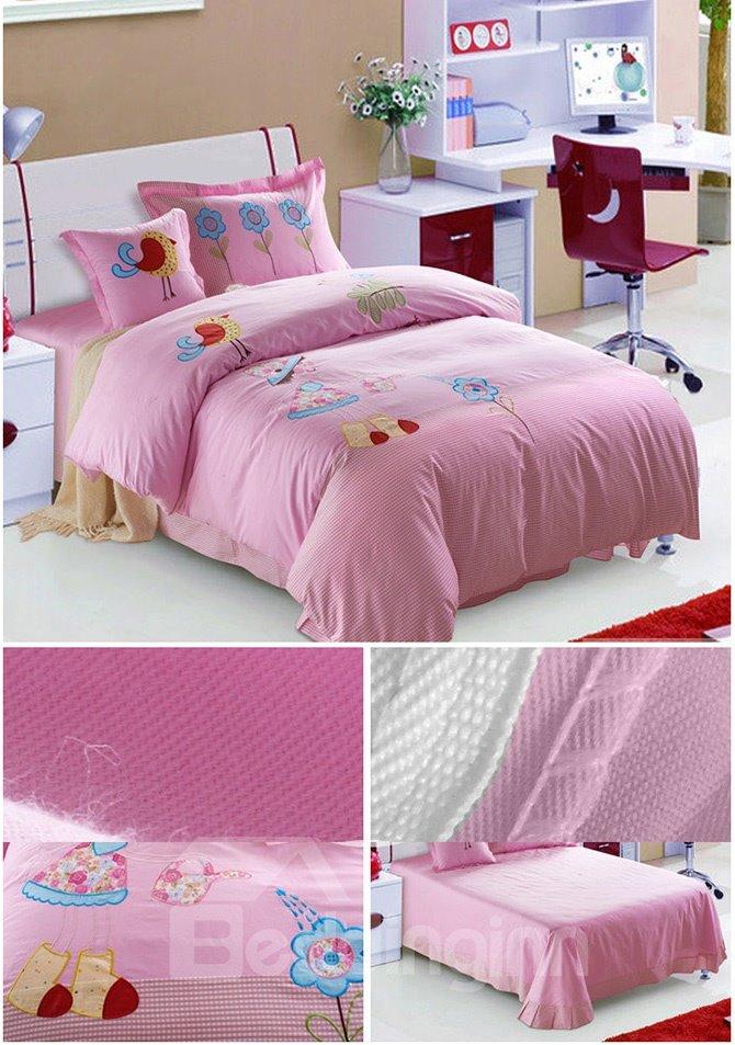 100% Cotton Lovely Flowers and Birds Print Kids Duvet Cover Set