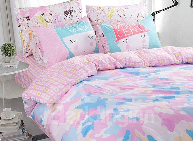 Lovely Pink Light Camouflage Pattern Kids Duvet Cover Set