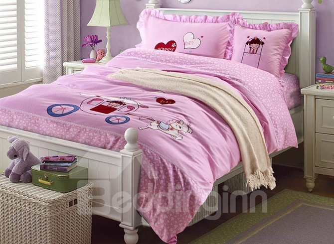 100% Cotton Lovely Girl in Carriage Print Kids Duvet Cover Set