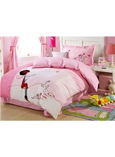 100% Cotton Girl and Rabbit Embroidered Kids Duvet Cover Set