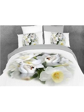Graceful White Lotus Swans Print Cotton 4-Piece Duvet Cover Sets