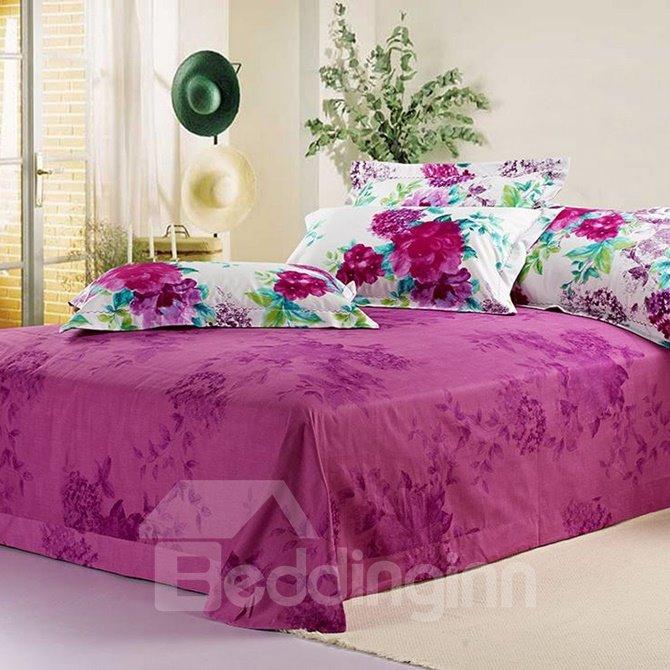 Noble Purple Flowers Print Cotton 4-Piece Duvet Cover Sets