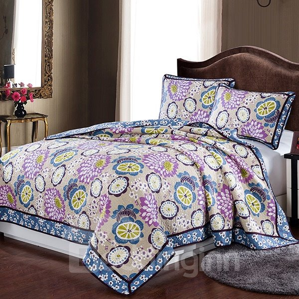 European Pastoral Flowers Style Cotton 3-Piece Bed in a Bag