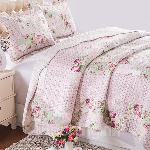 Adorable Pink Flowers Comfy Quilting Seam 3-Piece Bed in a Bag