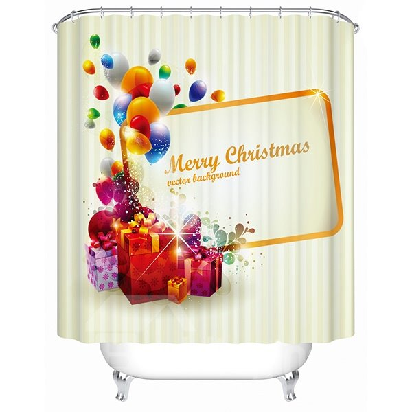 Happy Fabulous Merry Christmas Presents Printing 3D Shower Curtain