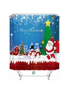 Fabulous Lively Snowman and Santa Printing Christmas Theme 3D Shower Curtain