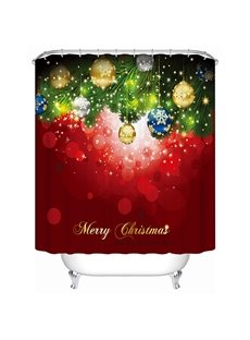 Fancy Dreamlike Balloon and Christmas Tree Printing 3D Shower Curtain