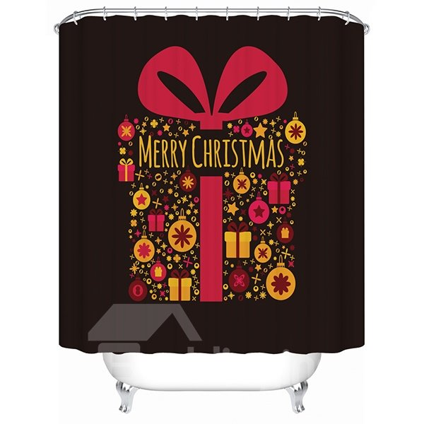 Creative Design Simple Chirstmas Present Box Shower Curain