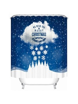 Fancy Vivid Cloud and Snowflake Shower Curtain