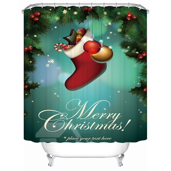 Sweet Happy Christams Boot with Presents Shower Curtain